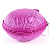 Fuchsia Round Zip Up Headset Headphone Earphone Case Pouch Bag Storage Holder