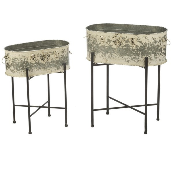 """Set of 2 Metal Tub Stands with Weathered White Finish 26.5"""" - N/A"""