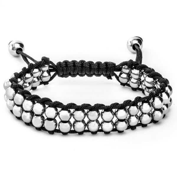 Men's Stainless Steel Beaded Adjustable Tie Closure Cord Bracelet (9 mm) - 7.5 in