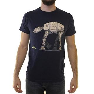 Star Wars Walker Going To Slip With A Banana Men's Blue T-shirt