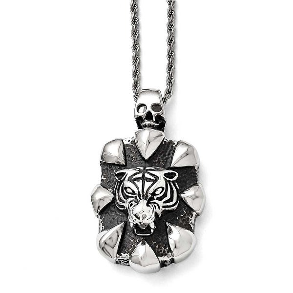 Chisel Stainless Steel Antiqued Skull and Tiger Necklace - 20 in