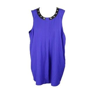Alfani Plus Size Blue Faux-Leather Trim Top 18W