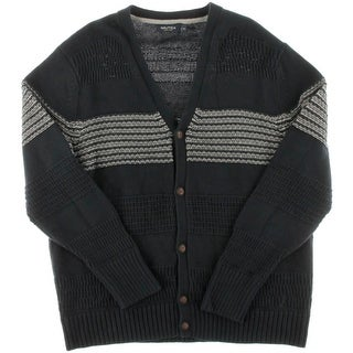 Nautica Mens Ribbed Button Front Cardigan Sweater