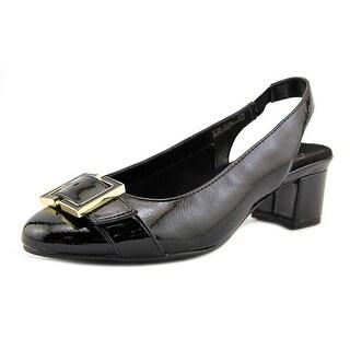 Aerosoles Ink Pad Women  Round Toe Patent Leather Black Slingback Heel
