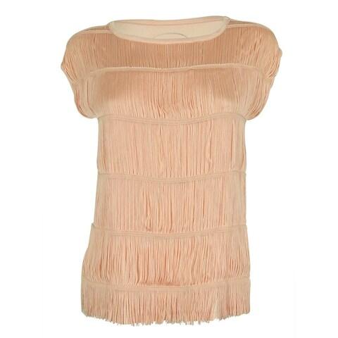 INC International Concepts Women's Fringed Top - pale blush