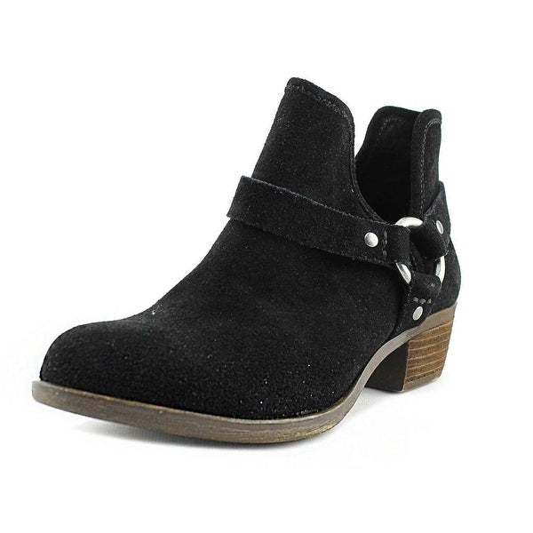 Lucky Brand Bashira Women Round Toe Suede Black Ankle Boot
