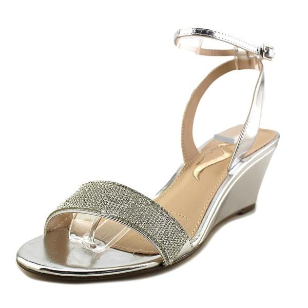 Nina Nolina Women Open Toe Leather Silver Wedge Sandal
