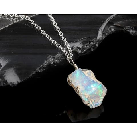 Evaluesell Natural Ethiopian Opal Pendant Necklace Sterling Silver Gemstone