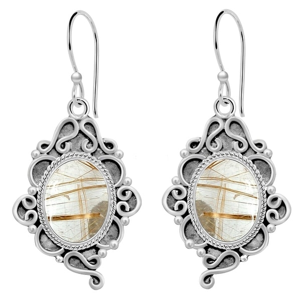 Amethyst,Chalcedony,Lapis Lazuli,Rutile Quartz Sterling Silver Oval Dangle Earrings by Orchid Jewelry. Opens flyout.