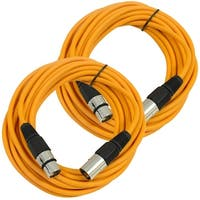 SEISMIC AUDIO Pair of Orange 25' XLR Male to Female Microphone Patch Cables