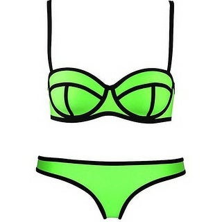 Honour Fashion Women's Padded Underwire Neoprene Bright Bikini Set