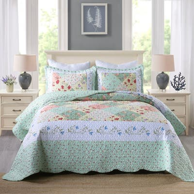 MarCielo 3 Piece Printed Quilt Set Lightweight Bedspread Set By014