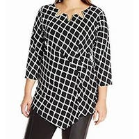 NY Collection Black Women's Size 3X Plus Printed Asymmetric Blouse