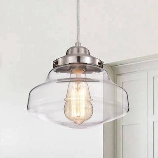 Link to 1 Light Satin Nickel Schoolhouse Pendant Light with Clear Glass - Satin Nickel Similar Items in Pendant Lights