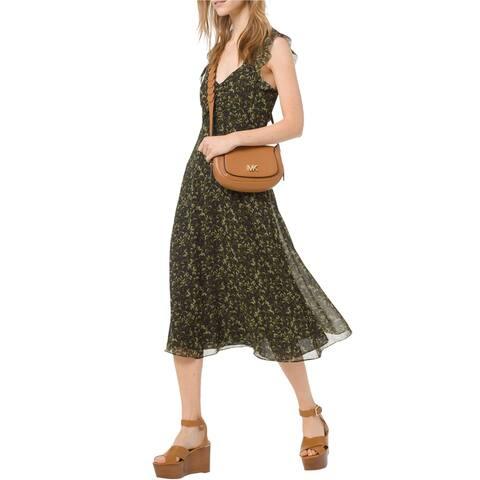 Michael Kors Womens Camo Butterfly Midi Dress, green, 14