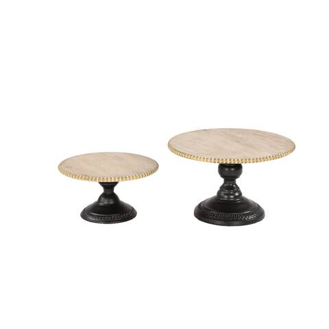 Serving Trays w Wood Bead Trim on Black Iron Stands Set of 2 - 13 x 13 x 8Round
