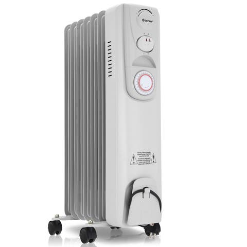 Costway 1500W Electric Oil Filled Radiator Heater 7-Fin Timer Thermostat Safety Shut-Off