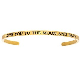 "Intuitions ""Love You to the Moon and Back"" Yellow Stainless Steel Cuff Bangle Bracelet"