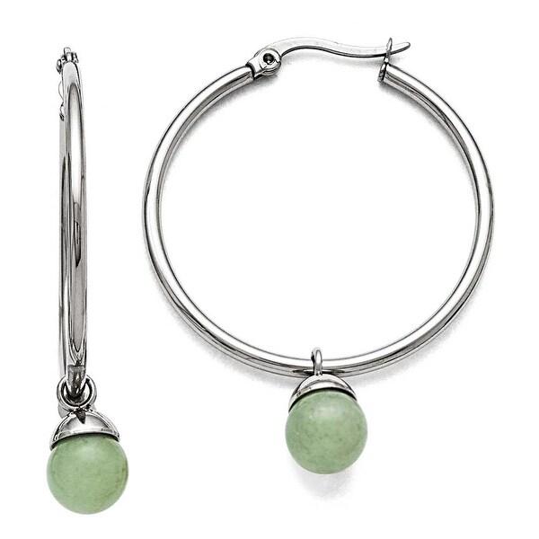 Chisel Stainless Steel Polished Hinged Hoop with Green Aventurine Bead Earrings