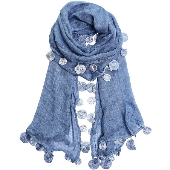 Women Lady Ultra Long Gorgeous Coin Lace Soft Scarves Shawl