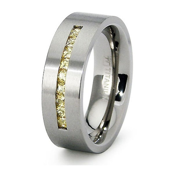 Ladies Titanium Band with Citrine Colored CZs (Sizes 6-8)