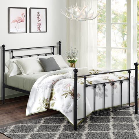 VECELO Metal Kids Beds Victorian Style Platform Beds,Bed Frames with Headboard and Footboard