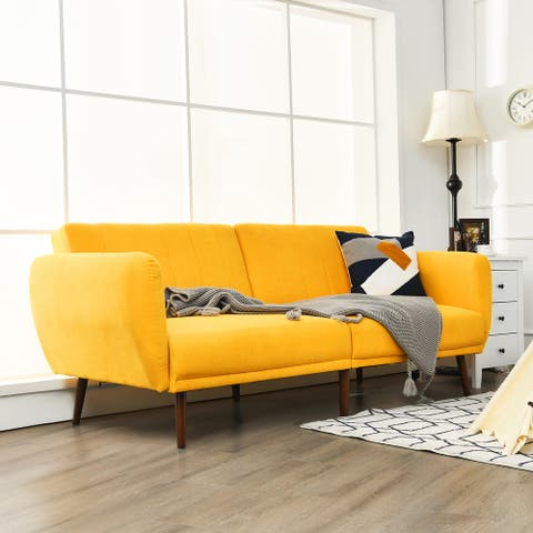 Costway Convertible Futon Sofa Bed Adjustable Couch Sleeper w/ Wood - 82.5'' x 34'' x 32'' (L x W x H)