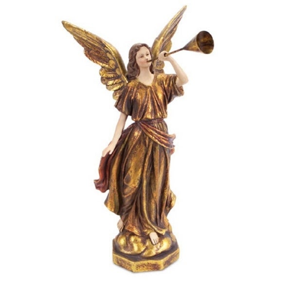 "15.5"" Elegant Religious Standing Angel with Horn Christmas Table Top Figure"