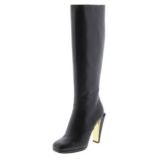 Fendi Womens Leather Square Toe Knee-High Boots - 36