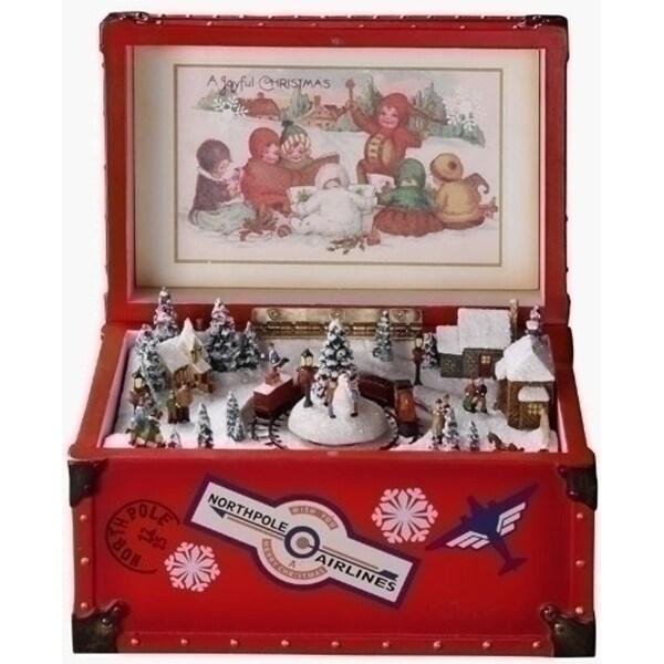 Amusements Retro Animated Vintage Red Trunk Christmas Music Box