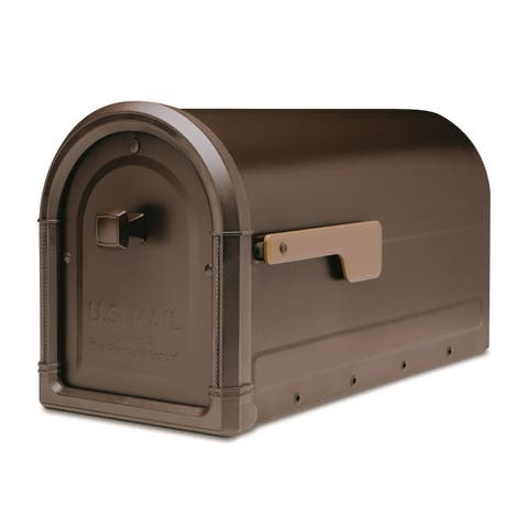 Architectural Mailboxes 7900-5-CG-10 Roxbury Post Mount Mailbox with Champagne Gold Flag - Rubbed Bronze