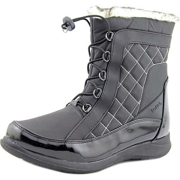 Totes Lisa Women Round Toe Synthetic Black Snow Boot