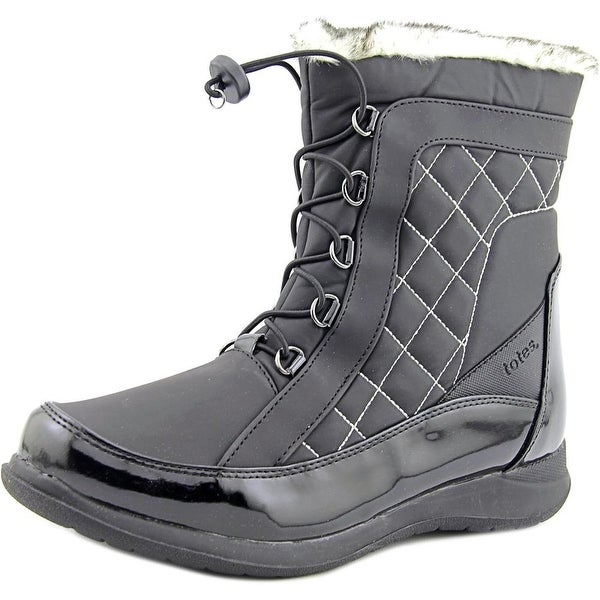 Totes Lisa Women W Round Toe Synthetic Black Snow Boot