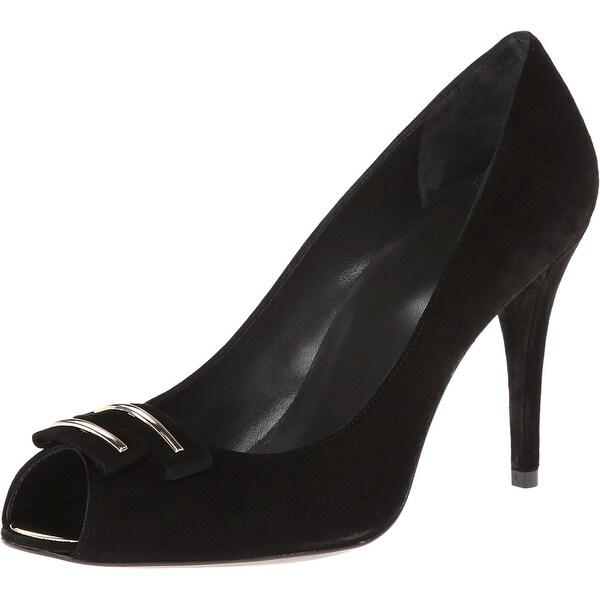 Stuart Weitzman NEW Black Shoes Size 11M Open Toe Suede Heels