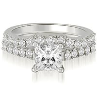 14kt White Gold 0.85 CT.TW Lucida Princess And Round Diamond Bridal Set HI,SI1-2