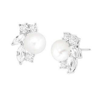 Freshwater Pearl & 1 5/8 ct Created White Sapphire Bud Stud Earrings in Sterling Silver