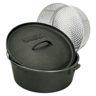 Bayou Classic 7420 20 Quart Cast Iron Dutch Oven and Basket - PEWTER