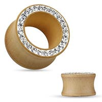 Hot Fixed on Clay Crystal Pave Rim Organic Maple Wood Double Flared Tunnel (Sold Ind.)