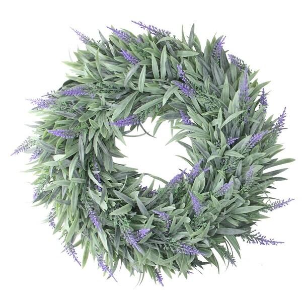 """14"""" Artificial Dusty Purple Decorative Springtime Wispy Lavender Wreath"""