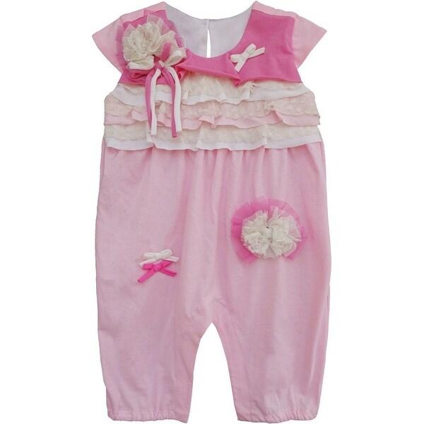 Isobella & Chloe Baby Girls Pink Carnation Kisses Ruffle Romper 3M-24M