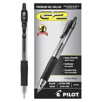 Pilot G2 Premium Retractable Gel Ink Rolling Ball Pen, 0.5 mm Extra Fine Point, Black Ink, Pack of 12
