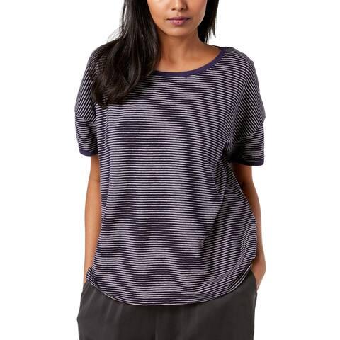 Eileen Fisher Womens Petites T-Shirt Striped Organic Cotton