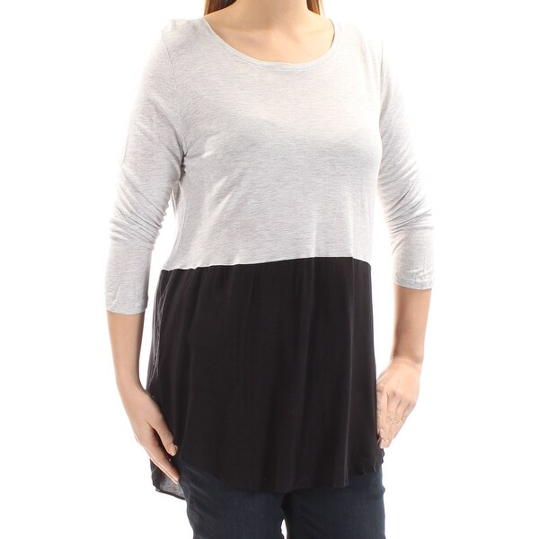 ddfd48761 Shop VINCE CAMUTO Womens Black Color Block 3/4 Sleeve Jewel Neck Hi-Lo Top  Size: L - On Sale - Free Shipping On Orders Over $45 - Overstock - 21389543