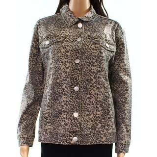 Ashley Mason NEW Beige Black Womens Size XS Animal-Print Denim Jacket