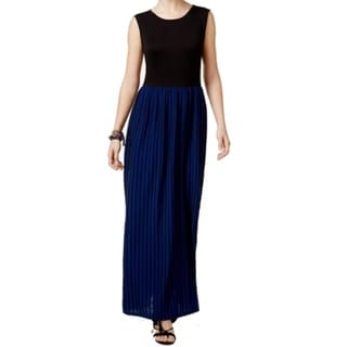 Grace Elements NEW Blue Women's Size XL Pleated Colorblock Maxi Dress