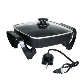 ZZ SK577 10 by 10 Inch Non-Stick Electric Skillet with Glass Cover Lid