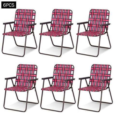 Costway 6pcs Folding Beach Chair Camping Lawn Webbing Chair