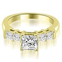 0.90 cttw. 14K Yellow Gold Princess Cut Diamond Engagement Ring