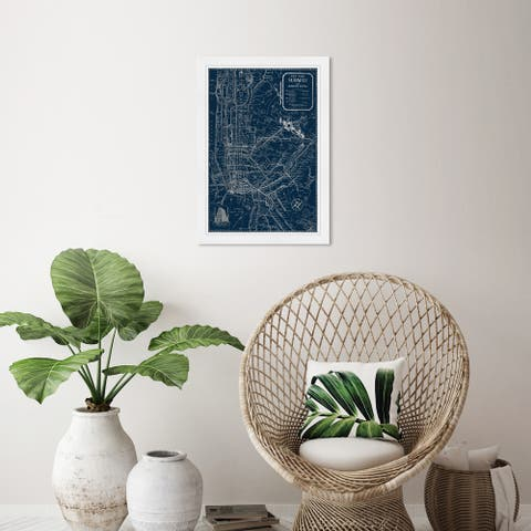 Wynwood Studio 'Silver NYC Lines' Maps and Flags Wall Art Framed Print US Cities Maps - Gray, Black