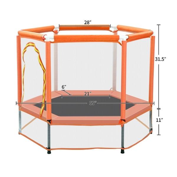 "Nestfair 55"" Orange Trampoline with Safety Enclosure Net and Balls"